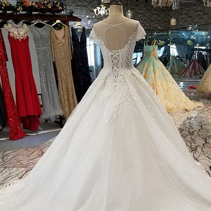 LS32009 אלגנטי שנהב חתונת שמלת o-צוואר קצר שרוול תחרה עד בחזרה כדור שמלת כלה שמלת כלה עם רעלה סין סיטונאי