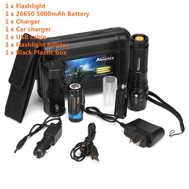 Alonefire X801 Cree Xml T6 Led 2000lm Zoomable Tactical Flashlights