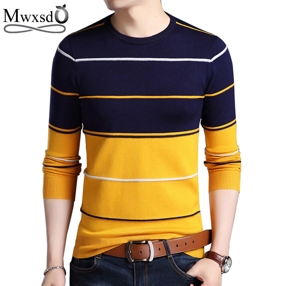 Mwxsd High Quality Casual Sweater men winter O-Neck Sweaters  Striped Slim Fit Knitting Mens Sweaters And Pullovers Men Pullover mens v neck striped sweater