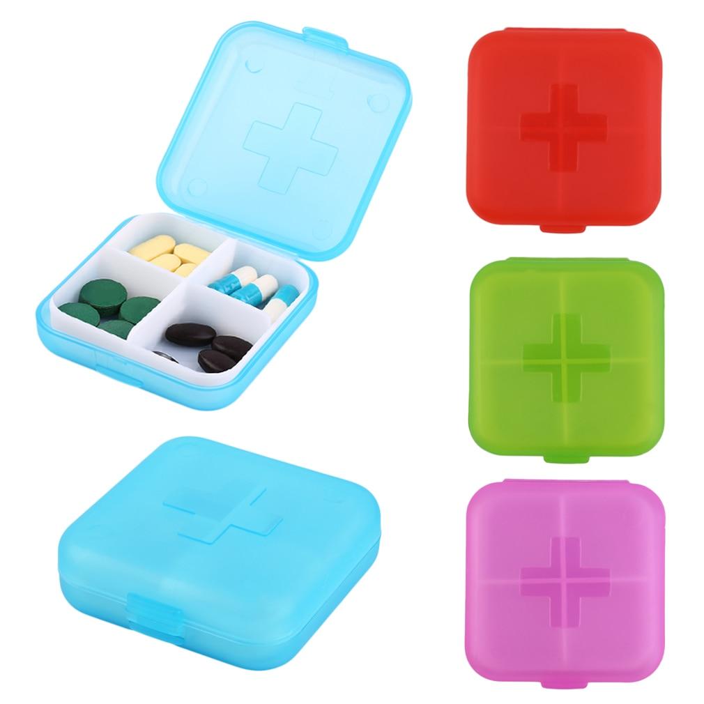 1 PCs Folding Vitamin Medicine Drug Pill Box Makeup Storage Case Container 4 Slot Case Storage Hot Selling