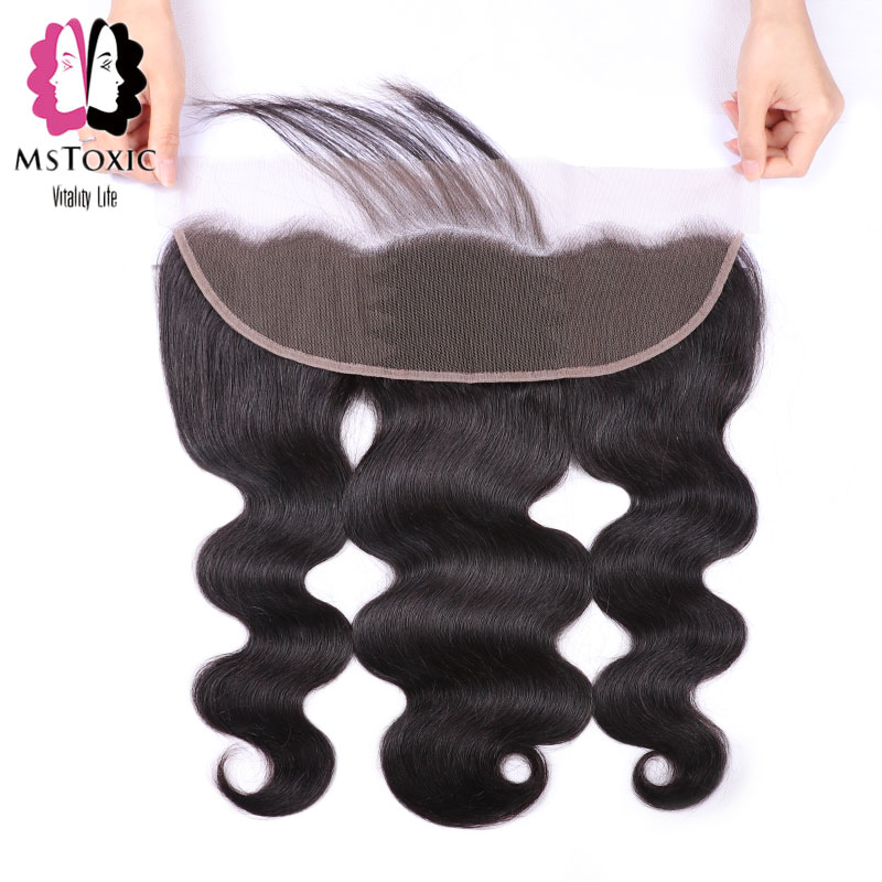 MsToxic Body Wave Lace Frontal Closure Pre Plucked Brazilian Human Hair Frontal Lace Closure NonRemy Hair