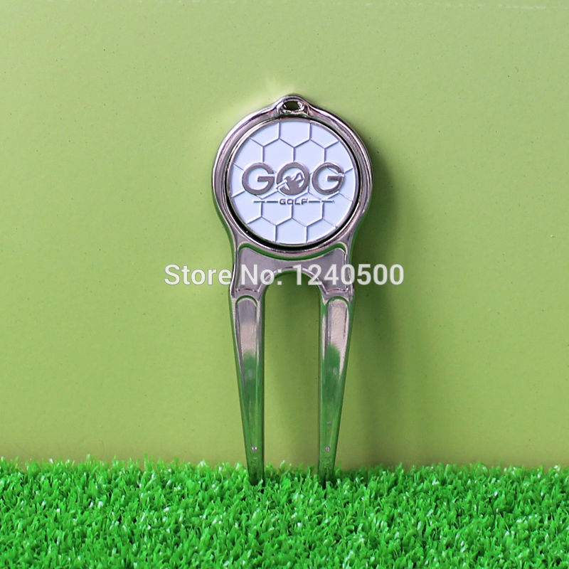 Envío de la nueva plata golf divot herramienta de pivote w/magnética marcador de