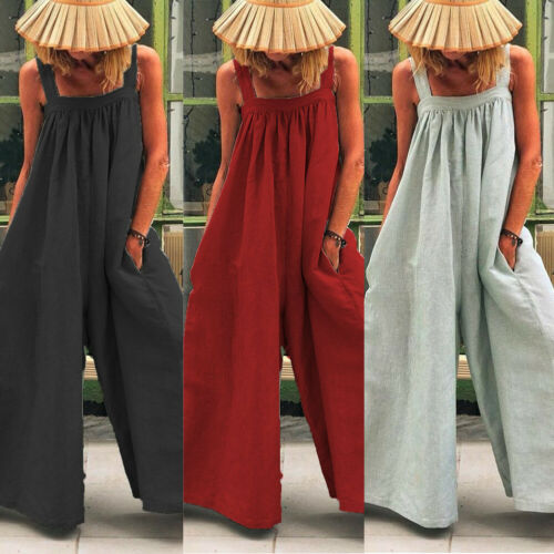 Boho Women Casual Loose Jumpsuit Fashion Dungarees Playsuit Trousers Overalls Wide Leg Trousers
