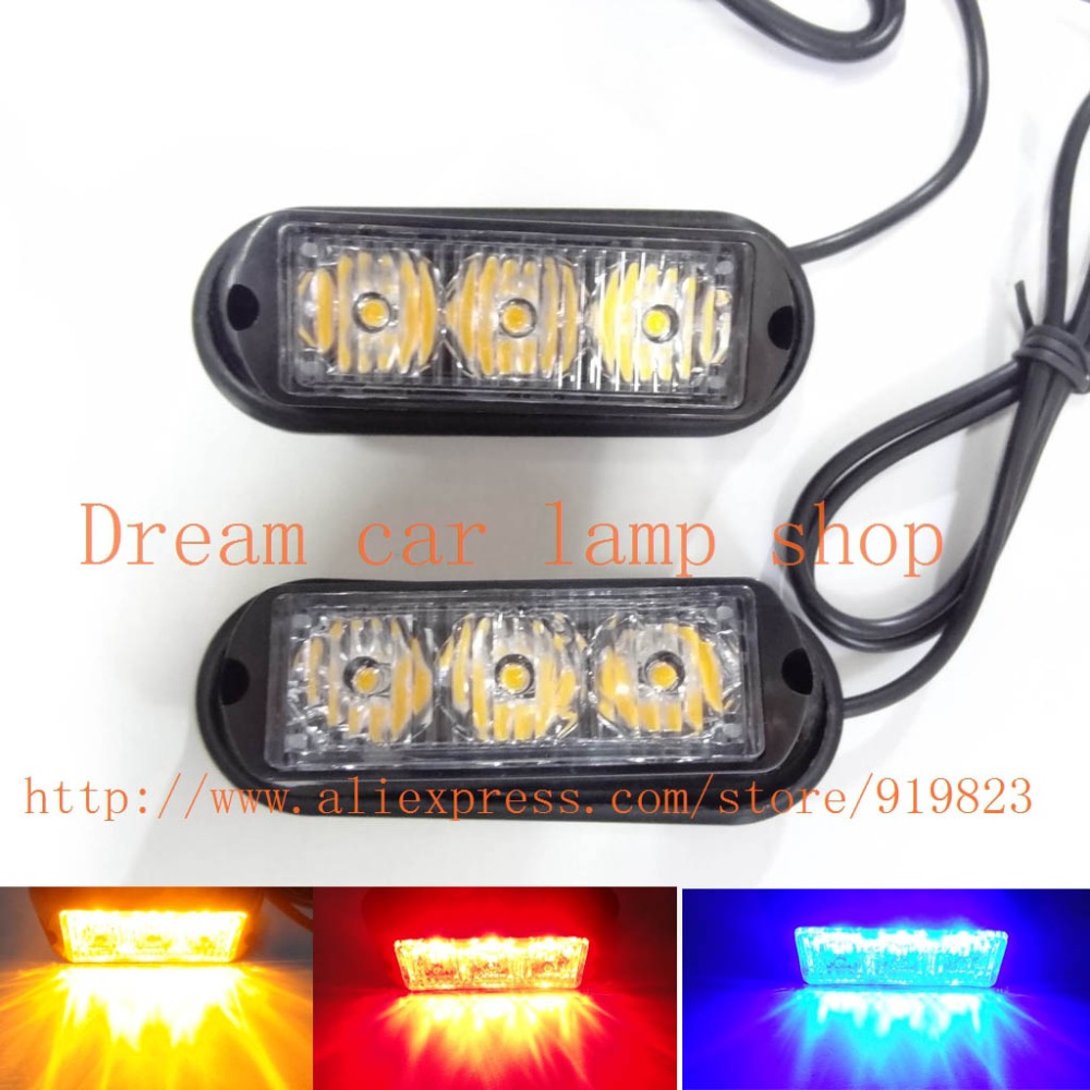 08003 2pcs 2X3LED 6LED 12W Super bright Waterproof Car Truck Emergency Strobe Flash warning light Amber Red blue green white