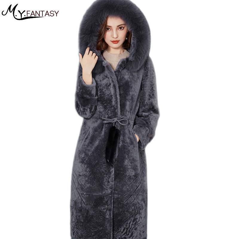 M.Y.FANSTY 2017 new sheep cut shears fur coat women in the long section of the Tibetan imitation l Lamb Fur Jackets Fashion Belt