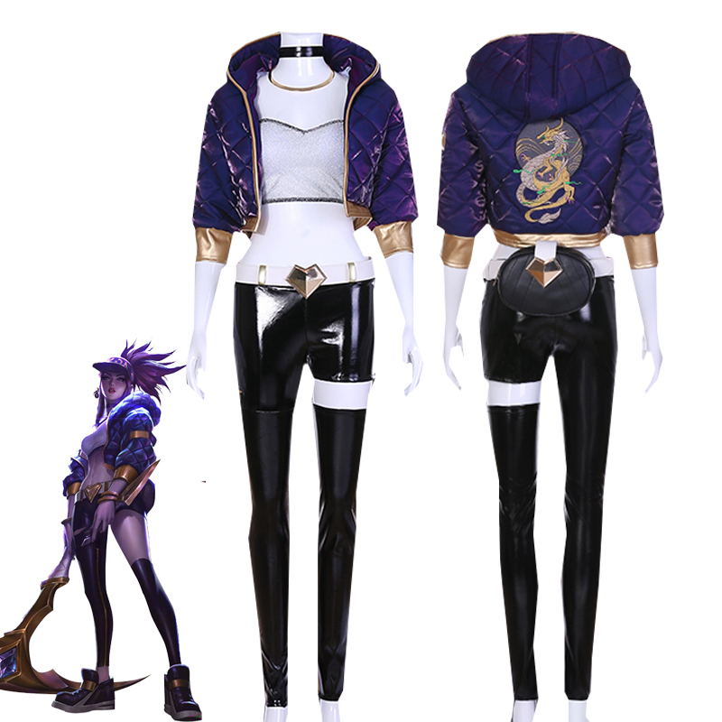 Game LOL KDA Akali Cosplay Costume The Rogue Assassin Battle Suit Sexy Uniform For Women Halloween Carnival Outfit Custom Made