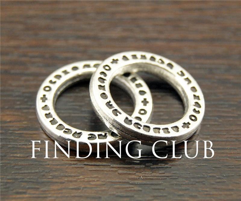 30 stücke Antike Tibetanische Silber Gehämmert Ring Kreis Charms Verbinder 20mm DIY Metall Schmuck Erkenntnisse A1141