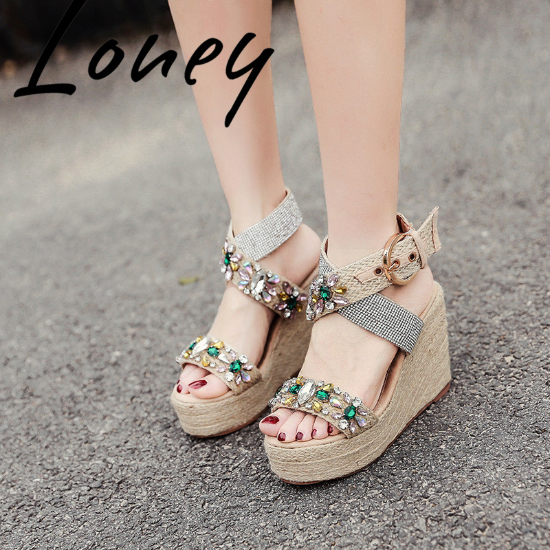 Loney New Jewel Crystal Buckle Strap Summer Sandals Open Toe HIgh Heel Wedges Dress Sandals Shoes Women-in High Heels from Shoes    3