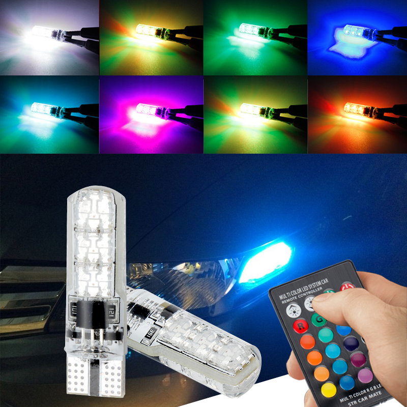 OKEEN 2 PCS Silicone RGB lâmpadas led t10 194 Com controle de 6 SMD 5050 led car light bulb t10 W5W LEVOU flash strobe fade suave modo