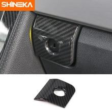 SHINEKA-Marco de botón para interruptor de Caja de almacenamiento para apoyabrazos de coche ABS, de fibra de carbono, pegatinas embellecedoras para Ford Mustang 2015 + Accesorios