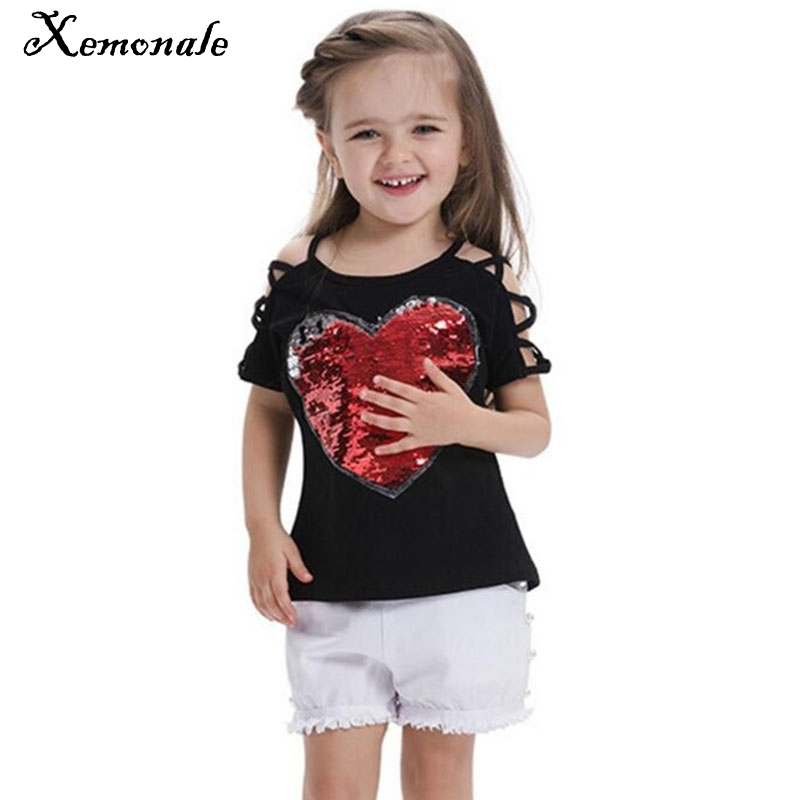 Xemonale Fashion Cotton Summer Girls T-shirts With Sequins Discoloration Children Clothes Girl Short Sleeves Tshirts
