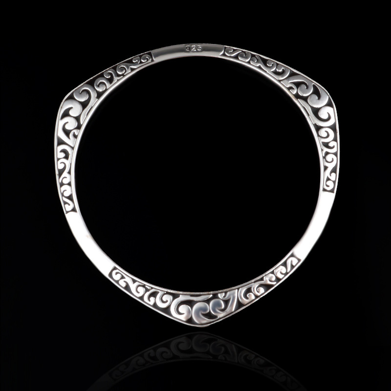 925 Tibet silver viking bracelets & bangles Round Triangle flower - Fashion Jewelry - Photo 5