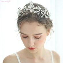 Jonnafe нежный серебряный цвет свадебная корона для женщин тиара на голову лист свадебный головной убор ручной работы аксессуары для волос