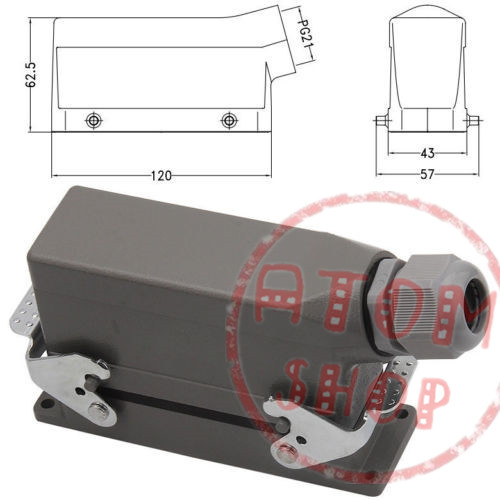 HDC-HE-024 rectangular insert Heavy Duty Connectors 16A 24 core Aviation hot runner connector plug