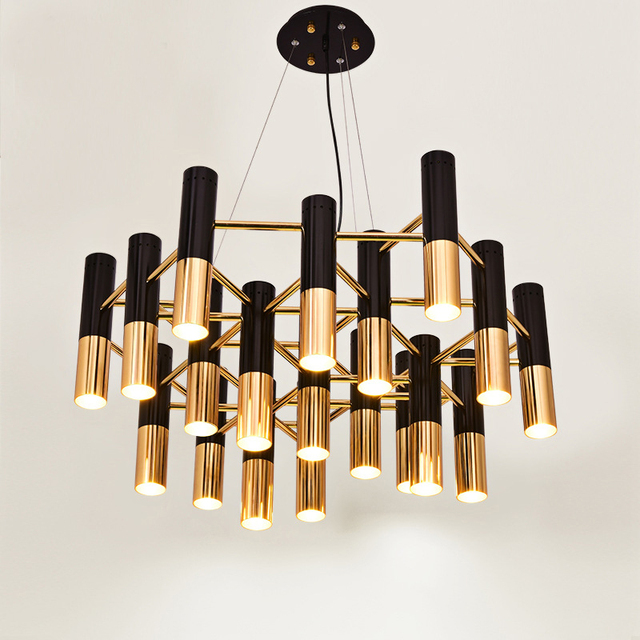 Delightfull Ike Metal Tube LED Chandelier Lamp Light Modern Black Gold  Suspension Hanging Light Lamp For
