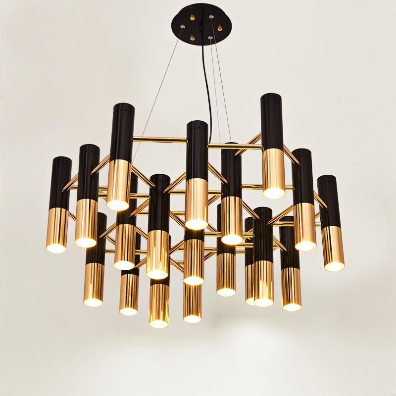 Delightfull Ike Pipe Led Chandelier Lamp Light Metal Tube Modern Black Gold Pipe Hanging Light