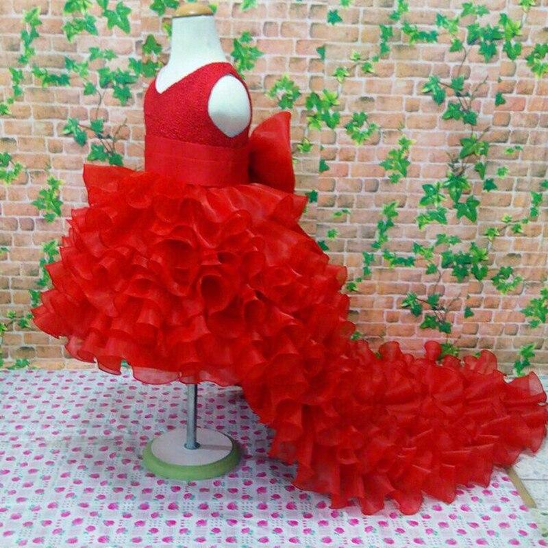 3-10 T fleur fille traînant robes de mariée fille de haute qualité Tutu robe de sirène col en v grand arc princesse longue robe