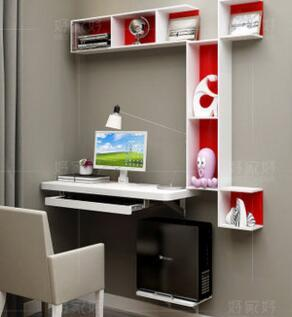 Small family model bedroom corner computer desk. A combination corner contracted hanging desk. Shelf hanging wall office desk small desk