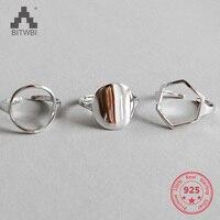 Геометрическая форма 925 пробы Серебряное кольцо для женщин Свадебные кольца ювелирные украшения