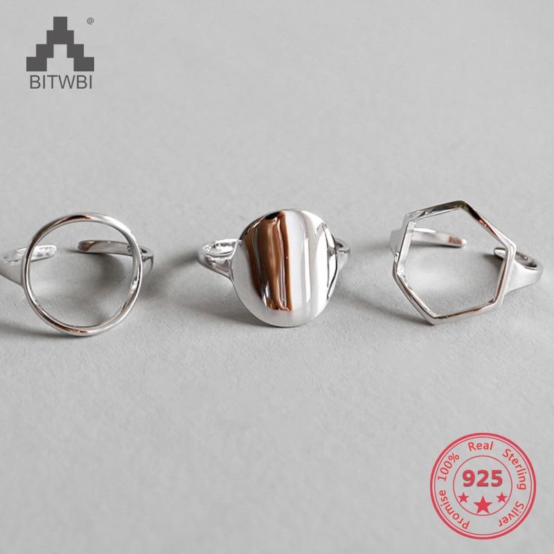 Geometry Shape 925 Sterling Silver Ring For Women Wedding Rings Fine Jewelry