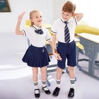 Kids School Uniform Children Summer Kindergarten Clothes British Style Chorus Clothing Short Sleeve 3pcs Shirt Skirt Tie D 0636