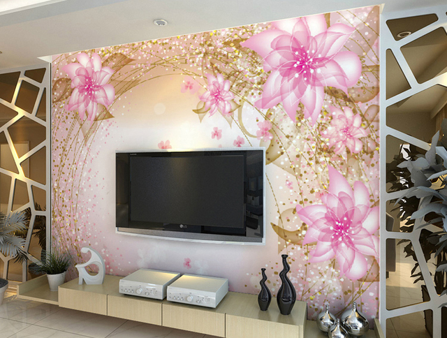 5d dreamy pink peach flower papel mural wallpaper for girl bedroom