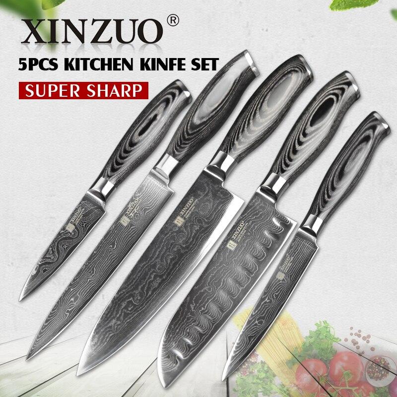XINZUO 5 pcs kitchen knives <font><b>set</b></font> 73 layer Japanese VG10 Damascus kitchen knife <font><b>set</b></font> cleaver chef utility wood handle free shipping