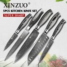 Xinzuo 5 stücke küchenmesser set 73 schicht japanischen vg10 damaskus küche messerset hackmesser chef utility holzgriff kostenloser verschiffen