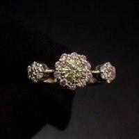 Желтое и кольцо с розовым бриллиантом 18 K Белый Золотой натуральный желтый бриллиант Свадебные обручальные женские кольца для женщин Изящн