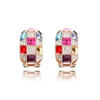 Multicolor de cristal austriaco nupcial Pendientes espárragos oro rosa color joyería de las mujeres Venta caliente colorido pendiente bijoux eeh0024