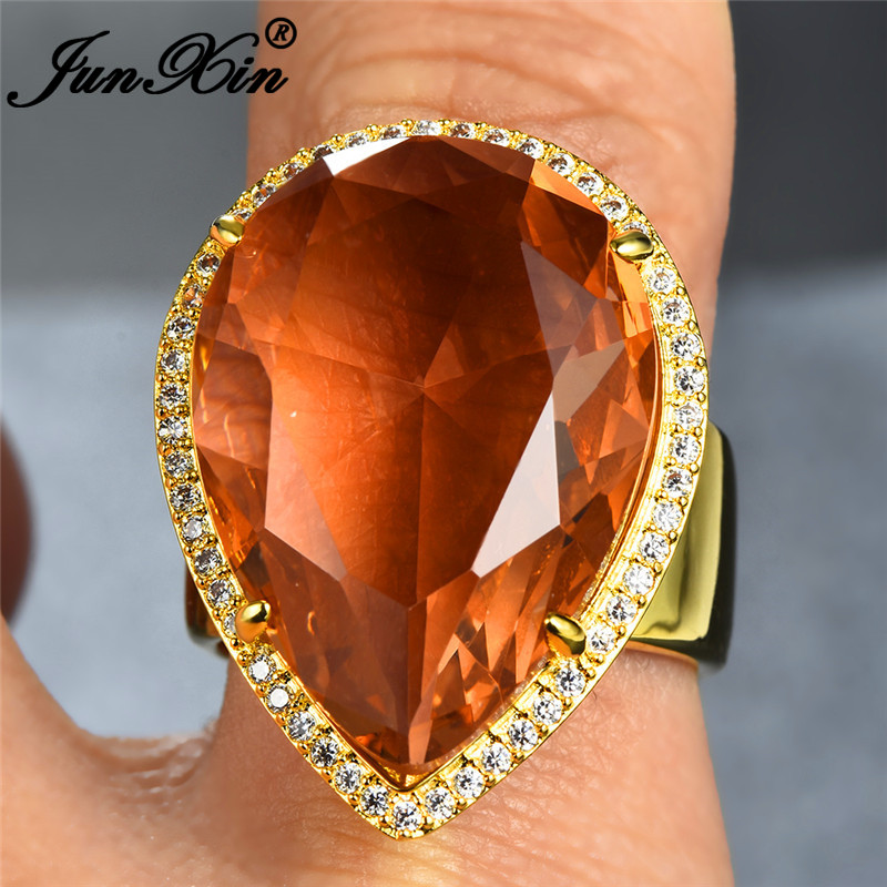 JUNXIN Female Champagne Crystal Big Stone Rings For Women Yellow Gold Filled Large Pear Cut Teardrop Zircon Wedding Ring Jewelry