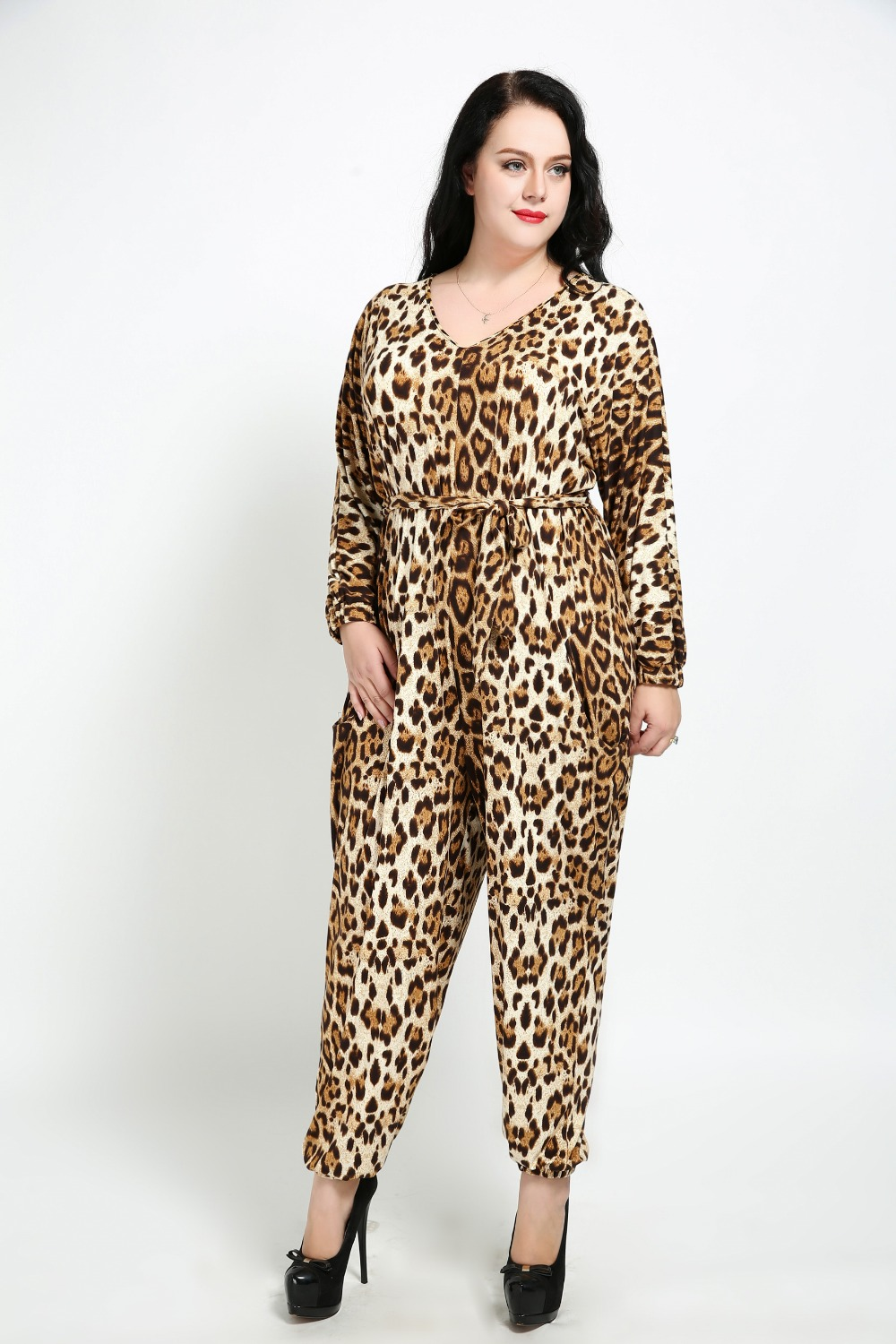 Womens Sexy V-neck Plus Size Loose Casual Jumpsuits Long Sleeve Full Length Leopard Jumpsuits Pocket Sashes Autumn Jumpsuits