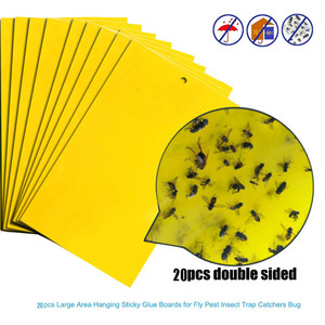 20pcs Strong Flies Traps Bugs Sticky Board Catching Aphid Insects Killer Pest Control Whitefly Thrip Leafminer Glue Sticker(China)