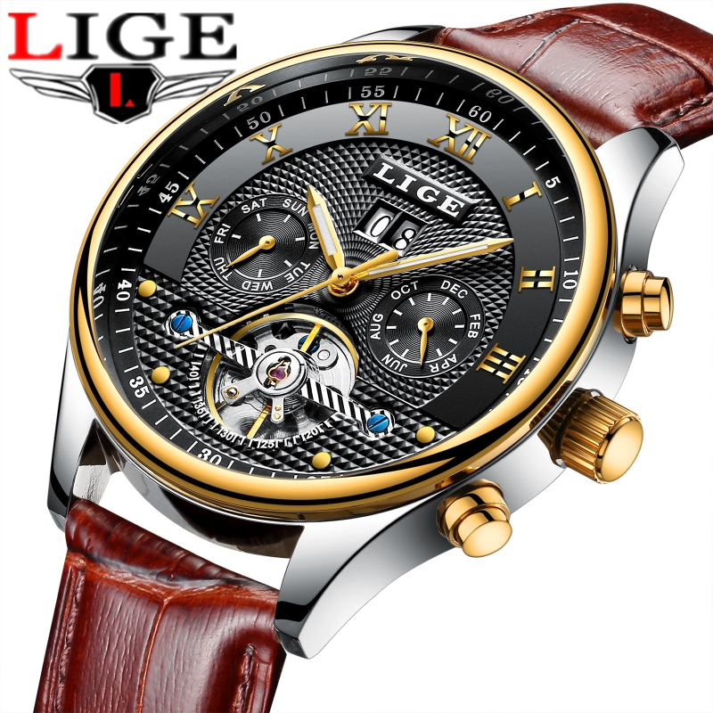 Reloj Hombre LIGE Luxury Brand Automatic mechanical Sport Watches Men Leather Casual Waterproof Wristwatch Relogio Masculino lige top brand luxury tourbillon automatic mechanical watches reloj hombre men s business waterproof clcok men relogio masculino