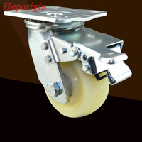 4 ''Zwenkwielen Industriële Castor Univeral Remwiel Stilte Nylon Rolling Zware Caster Plank trolley Dubbele Lager