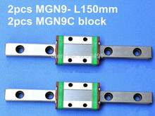 2pcs 9mm linear rail guide MGN9 150mm with mini MGN9C block