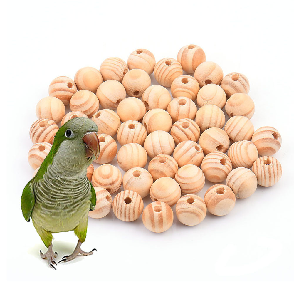 50pcs/pack Diy Toy Accessories For Parrot  Multipurpose Diy Bird Toy Accessories Natural Striped Beads Decorations S/m/l