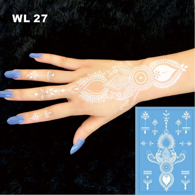 Wl 27 Beautiful White Body Tattoo Women Sexy White Henna Temporary