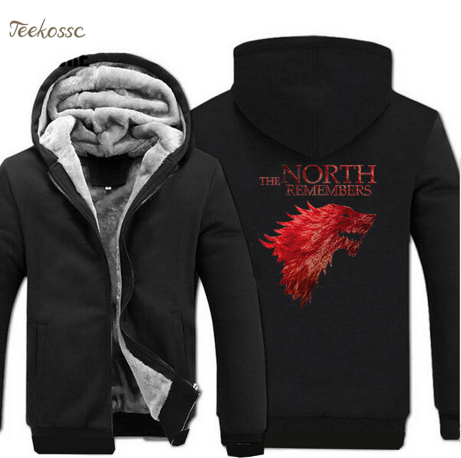 Game Of Thrones Hoodies Swetshirts The North Remembers House Stark Hoodie Men 2018 Hot Sale Winter Warm Fleece Thick Jacket Coat