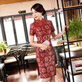 Chegada nova Mini Veludo Cheongsam Moda Estilo Chinês Vestido de Renda das Mulheres elegante Qipao Vestido Tamanho S M L XL XXL XXXL 246131