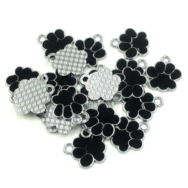 30Pcs Silver Tone Bear's Pat Enamel Black Ours Patte Charms Pendants Jewelry Findings 19x17mm 3