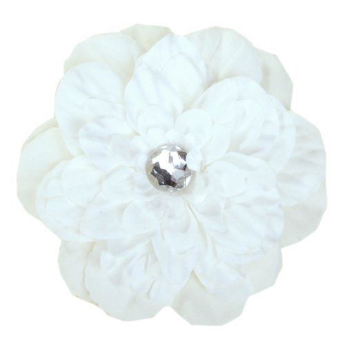 Rhinestone Peony Flower Hair Clip for Girl Toddler Lady White