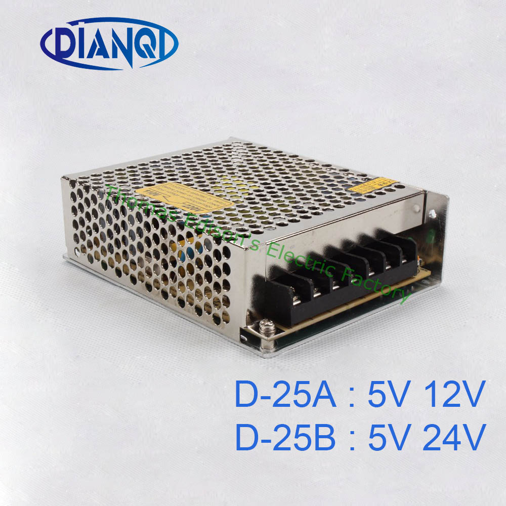 DIANQI dual output Switching power supply 25w 5v 2A 12v 1A power suply D-25A ac dc converter D-25B