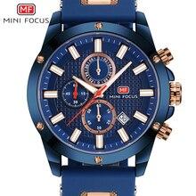 מיני פוקוס שעון גברים הכרונוגרף למעלה מותג יוקרה קוורץ ספורט שעונים צבא צבאי סיליקון רצועת שעון יד זכר כחול שעון