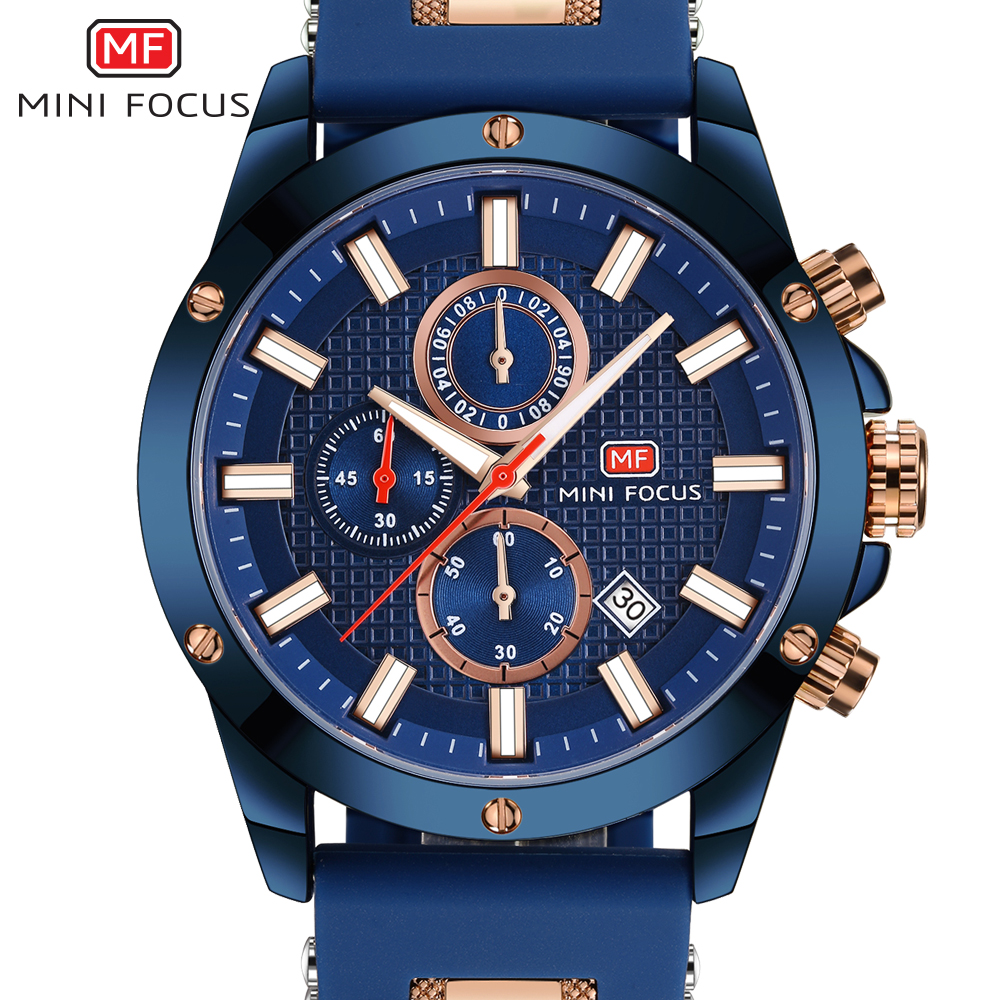 MINI FOCUS Watch Men Chronograph Top Brand Luxury Quartz Sports Watches Army Military Silicone Strap Wrist Watch Male Blue Clock mini focus top brand men stainless steel quartz watch luxury chronograph wristwatch calendar men sports watches male blue clock