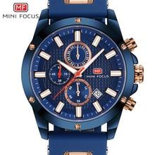 Mini focus relógio quartzo militar masculino, relógio de pulso esportivo de silicone faixa azul para homens
