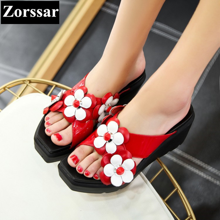 2017 SIZE 34-42 Summer Women Shoes platform High heels wedges slippers Sandals Casual womens Slides shoes Fashion flowers shoes phyanic 2017 gladiator sandals gold silver shoes woman summer platform wedges glitters creepers casual women shoes phy3323