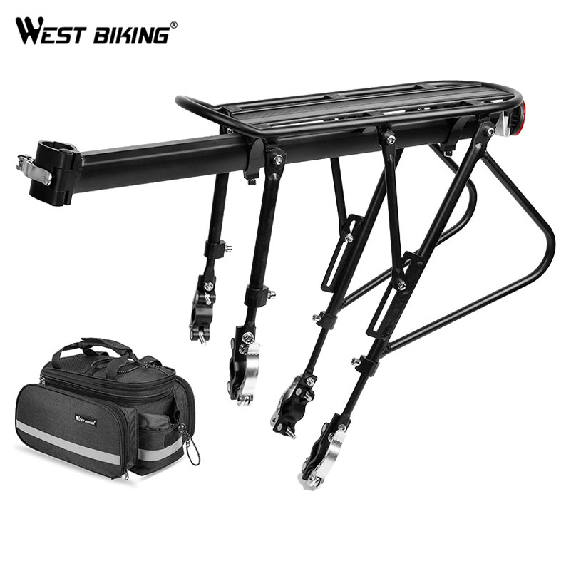 WEST BIKING Bicycle Luggage Carrier Cargo Rear Rack Shelf Cycling Bag Pannier Saddle Stand for 20-29 inch Bike With Install ToolWEST BIKING Bicycle Luggage Carrier Cargo Rear Rack Shelf Cycling Bag Pannier Saddle Stand for 20-29 inch Bike With Install Tool