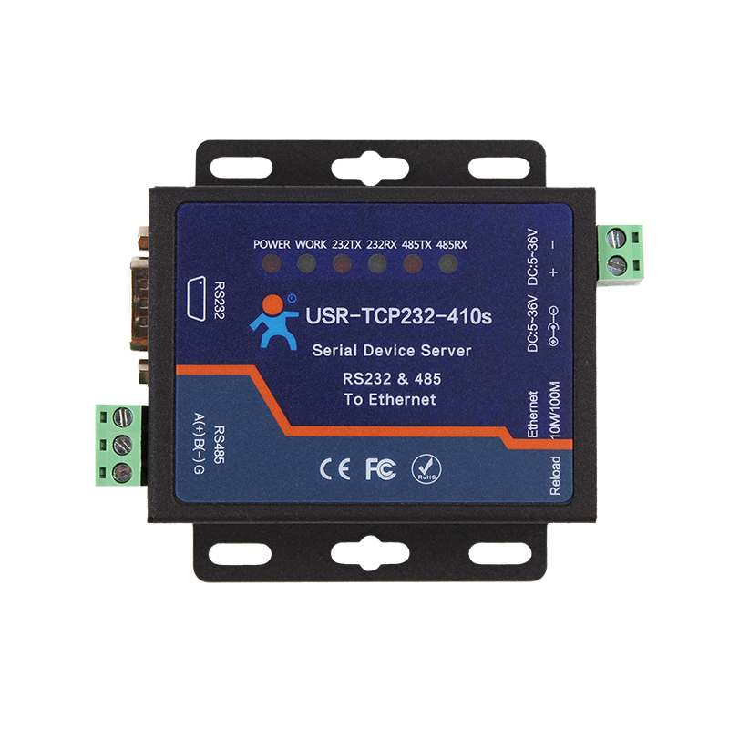 Dual Serial Port Networking Server Industrial ModbusTCP/RTU Reciprocal RS232/485 to Ethernet 410S rs232 serial port to ethernet server two way transparent transmission rs232 serial server