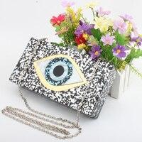 Frauen Clutch Abendtasche Augen Drucken Glänzende Acryl Gold Für Hochzeitsfest Fashion Handtaschen Kette Umhängetasche Messenger Bags Top